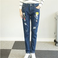 Wholesale Harem Jeans For Girls - Wholesale- 2017 Spring New Funny Cartoon Printed Jeans for Women Cute Leisure Harem Pants Female Plus Size S-5XL Ripped Women's Jeans Girls