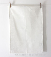Cotton blank kitchen towels - 50x70 CM off white plain woven cotton canvas gsm hand rolled blank tea towel without any prints