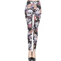 Wholesale Blue Silk Pants - 2017 New Skull Pattern Printed Milk Silk Leggings Vintage Graffiti Trousers Fashion Sexy Jeggings Women Lady Slim Skinny Pants LG005