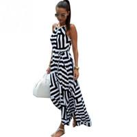 ingrosso abito geometrico bianco nero-Summer Women Beach Maxi Dress 2017 New Black and White Geometric Stripe Stampa Abito lungo con cavezza allentata Vestidos da donna