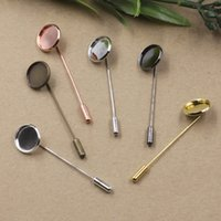 Wholesale Antique Silver Brooches - Wholesale- 60pcs 16mm,18mm,20mm fallen petals Brooches Antique Bronze Silver Gold vintage cabochon pin base blank setting handmade jewelry