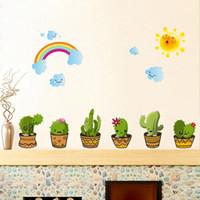 decoração da janela do quarto venda por atacado-Paredes Decal Adorável Cacti adesivos de parede Casa de Banho Janela Decoração Sala Quarto fundo Embeleze Art Decor 3 2HL C R