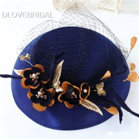 Wholesale Garden Fine - Vintage Royal Blue Floral Bridal Hat Unique Fine Garden Face Veil Wedding Hair Accessory Bride Mother Special Occasion Party Holiday Hats