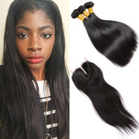 3 lots soyeux Cheveux droits Cheveux tissés avec fermoir Raw Virgin Brazilian Hair Double Drawn Weaves Hair Bundles for Wholesale
