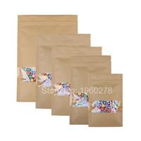 Wholesale Flat Paper Storage - Durable Multi Sizes Flat Brown Kraft Packaging Bags Food Bolsa Kraft Paper Bag Storage With Clear Window 100pcs lot