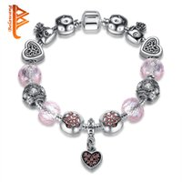 Wholesale Spacer Bars For Jewelry - BELAWANG Valentine's Jewelry Original 925 Spacer Silver Heart Shape CZ Charm BraceletS European Pink Crystal Beads Charm Bracelet for Women