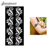 Wholesale Colored Flowers Tattoos - Wholesale-1 Piece Personal Flower Henna Tattoo Stencil for Sexy Women Henna Paste Colored Drawing Shoulder Wrist Art Tattoo Stencil S276