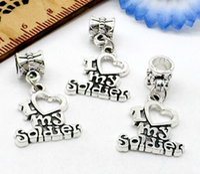 Wholesale European Beads Charm Letters - 100Pcs tibetan Silver alloy I love my soldier letter Charms Dangle Beads Fit European pendant Bracelet Jewelry Making Diy 30x17mm hole 4mm