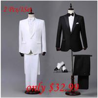 calças de baile para homens venda por atacado-Atacado-Custom made Mens Black White Ternos Jacket Pants vestido formal Men Suit Set homens ternos de casamento noivo smoking para homens blazer