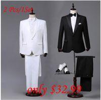 erkekler için resmi elbiseler pantolonları toptan satış-Toptan Satış - Özel yapılmış Mens Siyah Beyaz Takım Elbise Ceket Pantolon Resmi Elbise Erkekler Suit Set erkekler düğün takımları damat smokin erkekler için blazer