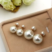 Wholesale Small Pearl Gold Earrings - Hot sell brand 316L Stainless Steel love stud earrings pearl big  small earrings for women men Couples fine jewlery wholesale