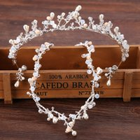 Wholesale headpiece jewelry sets resale online - Wedding Jewelry Set Handcraft Hair Accessory Crown Earring Necklace Silver Color Wedding Headpiece Set
