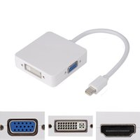 Wholesale Vga Dvi Dp - S5Q Premium Thunderbolt Mini DP To DVI VGA HDMI 3 In 1 Adapter Cable For MacBook AAAGQL
