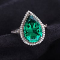 Wholesale Engagement Ring Emerald Cut - Jewelrypalace Luxury Pear Cut 4.9ct Created Emerald Solid 925 Sterling Silver Engagement Ring Water Drop Cut Amazing Gift