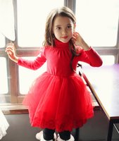 Wholesale Lace Ruffle Scarf - 2017 Christmas Dresses For Girls Lace Dress Tulle Net Yarn With Bowknot Fur Collar Scarf Warm Girl's Xmas Party Dressy Red White A5850