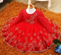 Wholesale Toddler Girls Chiffon Tutu - 2017 Autumn Winter Baby Girl Dress Long Sleeve Tutu Lace Princess Girl Clothes Red Toddler Girls Christening Gown Baby Dresses