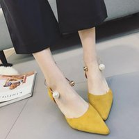 Wholesale Sandals Shallow - Koovan Women Pumps 2017 Spring Summer Tip Pointed Suede Simple Sense Shallow Pearl Buckle Low Heel Women's Shoes Comfortable Summer Sandals