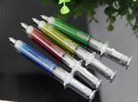 Wholesale Novelty Liquid Syringe Ballpoint Pen - 500pcs lot Liquid Novelty Syringe Ballpoint Pen Stationery Cute Syringe Ballpoint Pen Office Supplies Child Gift