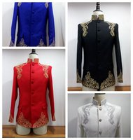 Wholesale China Male Costume - Male new pattern Embroidery slim costume china style casual coat singer dancer host show for party nightclub stage prom performance wear