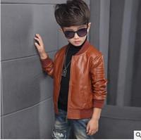 Wholesale Wholesale Leather Jackets Clothing - Boys jackets fashion Kids PU leather round collar outercoats children zipper up coat boys leisure coat 2017 New kids clothing G0974