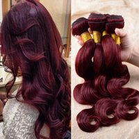 # 99J Vin rouge Vierge brésilienne Remy Hair Extensions Body Wave Wavy Virgin Human Hair Weaves 3Pcs / Lot 300Gram Brazilian Bourgogne Hair Bundles
