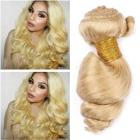 Pacotes de cabelo humano loiro peruanas de qualidade superior 3Pcs Loose Wave # 613 Blonde Virgin Remy Human Weaves Weaves Extensions Wholesale Double Wefts