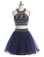 iki parça kısa lacivert elbise toptan satış-2017 Yeni İki Adet Mezuniyet Elbiseleri Jewel Boyun Lacivert Tül Kristal Boncuk Kısa Mini Parti Mezuniyet Örgün Artı Boyutu Kokteyl Elbiseleri