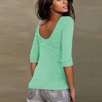 Nadafair Three Quarter Sleeve Backless Casual Donne Donna Cotone T-shirt Nero Bianco Verde Rosa q170713
