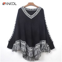 Wholesale Thick Poncho Sweater - Vancol 2016 Winter Cape Women Tops Autumn Thick Retro Ethnic Totem V Neck Loose Sweater Black Fringe Batwing Knitting Poncho su