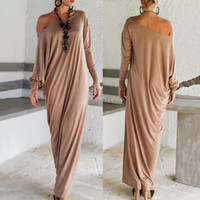 Wholesale Scoop Neck Long - Women Long Runway Dresses Solid Loose Full Sleeve Scoop Neck Party Dresses Brand Fashion Spring Autumn Clothing Plus Size Hot Selling