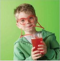 çocuklar parti güneş gözlüğü toptan satış-Straw Komik Çocuk Renkli Yumuşak Gözlük DIY Straw Benzersiz Esnek Güneş Tüp Çocuklar Parti Hediye İçme İçme Çevre Dostu Güneş