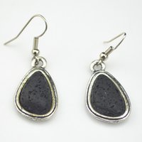 Wholesale Crafts Turquoise Stone - E010 Lava Rock Stone Water Drop Turquoise (Stone, not plastic or resin) Vintage Look Tibet Antique Silver Craft Gift