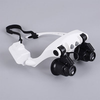 Wholesale lamp magnifier led - 8 Lens 10X 15X 20X 25X Spectacles Eye Glasses LED Lamp Magnifier Loupe Jewellery Maintain Watch Repair Tool
