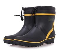 Wholesale Boots Men New - Wholesale- Brand New Men Fashion Mid-calf Rubber Rain Boots Flat Heels Waterproof Rainboots Water Shoes Male Wellies Boots Size 37-46 #TS92