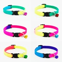 Wholesale Wholesale Rainbow Dog Collars - Rainbow Dog Cat Bell Collar Adjustable Outdoor Comfortable Pet Collars For Small Dogs Puppies Pets Collars Safety Bucker