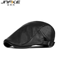 Wholesale Peaked Cap Leather - Wholesale-2016 New Fashion PU Newsboy Hat England Personality Peaked Cap Man and Woman Leather Beret Caps 55-60cm