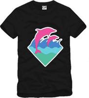 новый розовый дельфин оптовых-S-3XL бесплатная доставка новое прибытие высокое качество мужчины женщины футболка розовый дельфин одежда хип-хоп футболки Дельфин печати футболка хлопок 6 цветов