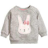 Wholesale Kids Sweaters Wholesale - 22017 Easter Gift Girls Coat Jacket Kids Gray Cotton Bunny Cartoon Jumper Sweater Children Spring Top Blouse