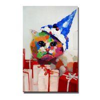 ingrosso immagine libera bella-Trasporto libero di disegno decorativo bambino gatto pittura a olio animale bello immagini a parete di grandi dimensioni su tela a buon mercato