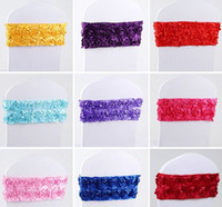 Wholesale Spandex Chair Ties - Latest (No need to Tie the Knot) Elastic Flower Wedding Chair Cover Sashes Sash Party Banquet Decoration Decor Colours LLFA