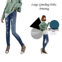 Wholesale Leggings Grinding - New Women Fashion Leggings Stretch Skinny Leggings Tights Pencil Pants Trousers Casual Large Grinding Holes Printing Jeans Pants