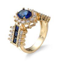 anillo de zafiro amarillo oro 18k al por mayor-Tamaño 6-10 18K oro amarillo lleno plateado zafiro circón anillo de dedo amante del regalo de boda