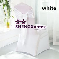 Wholesale Satin White Banquet Chair Cover - White Wedding Banquet lycra Spandex Chair Cover And Satin Chair SASH