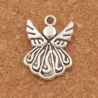 Wholesale Diy Components - Flying Angel Wing Charms Pendants 120pcs lot 21.5x15.4mm Antique Silver Jewelry DIY L216 Jewelry Findings & Components