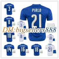 Wholesale Italy Blue Soccer Jerseys - best quality 2016 Italy Home blue Soccer jersey kits 2017 Italia ZAZA INSIGNE EL SHAARAWY PIRLO VERRATTI MARCHISIO Away white Football shirt