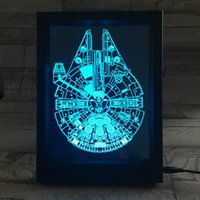 Wholesale Falcon Light - 3D Millennium Falcon LED Photo Frame IR Remote 7 RGB Lights AAA Battery or DC 5V Factory Wholesale Dropship Free Shipping