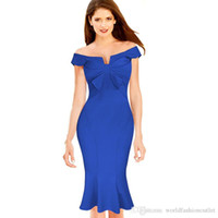 Wholesale short fitted evening dresses - Fashion Bowknot Vintage Mermaid Ruched Tunic Off Shoulder Party Fitted Stretch Bodycon Women Elegant Evening Party Dress Slash Neck Dresses