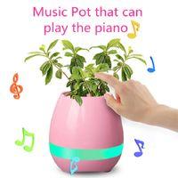 Wholesale Led Lights Bulk - Multifunctional Bluetooth Music Flower Pot with LED Light Play Piano Planters for decoration Bulk Subwoofers Pot Speaker