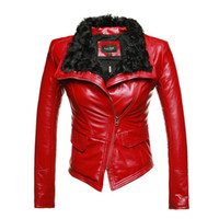 Wholesale Red Leather Jacket Women Sale - New Luxury Autumen Winter Women Genuine Fur Leather Jackets Lady Sheepskin Motorcycle Red Black Coat Outerwear Hot Sale
