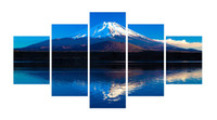 Wholesale japanese painting set - 5pcs set Unframed Mount Fuji Japanese Mountain Print On Canvas Wall Art Picture For Home and Living Room Decor